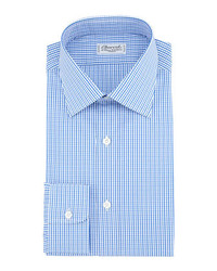 Charvet Small Check Barrel Cuff Dress Shirt Bluewhite