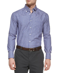 Brunello Cucinelli Check Long Sleeve Sport Shirt Blue
