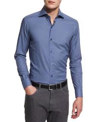 Ermenegildo Zegna Check Long Sleeve Sport Shirt Navysteelwhite