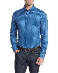 Brioni Check Sport Shirt Blue