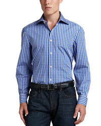 Kiton Check Poplin Dress Shirt Bluewhite