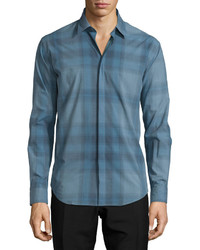 Burberry London Modern Fit Check Sport Shirt Stone Blue