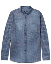 A.P.C. Marlon Slim Fit Button Down Collar Checked Cotton Shirt