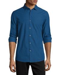 Michael Kors Michl Kors Slim Fit Check Long Sleeve Sport Shirt Navy