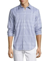 Burberry Modern Fit Point Check Sport Shirt Bright Navy