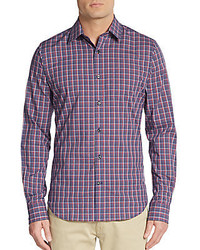 Saks Fifth Avenue Regular Fit Checkered Cotton Sportshirt