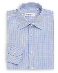 Saint Laurent Regular Fit Small Check Cotton Dress Shirt Gift Box
