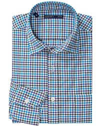 Mason S Brushed Cotton Small Glen Check Shirt Long Sleeve