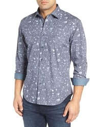 Bugatchi Shaped Fit Splatter Check Sport Shirt