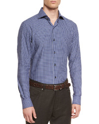 Ermenegildo Zegna Small Check Long Sleeve Sport Shirt Navy