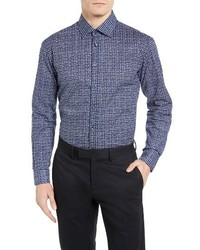 Sand Trim Fit Navy Check Sport Shirt