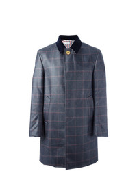 Thom Browne Checked Ball Collar Overcoat Blue