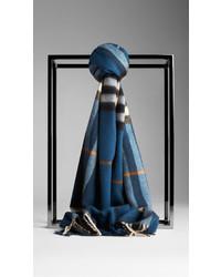 Check cashmere scarf medium 158083