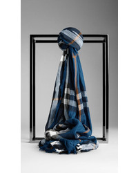 Check wool cashmere crinkled scarf medium 158085