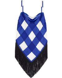 Balenciaga Fringed Checked Silk Camisole Blue