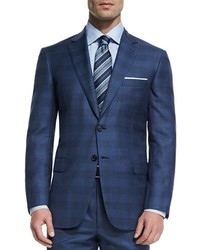 Brioni Colosseo Check Two Piece Wool Suit Blue