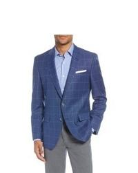 Men's Boss Fit Windowpane Wool Sport Coat