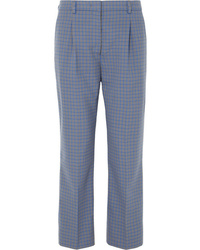 Prada Cropped Checked Wool Blend Straight Leg Pants