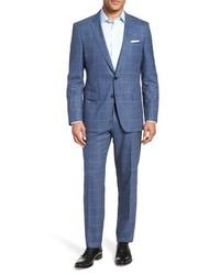 BOSS Hugegenius Trim Fit Windowpane Wool Suit