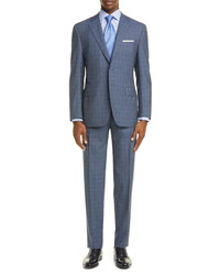 Canali Sienna Soft Classic Fit Windowpane Wool Suit