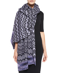 Missoni Zigzag Knit Stole Purple