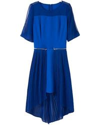 Choies blue chiffon dress with detachable pleat hem medium 75582