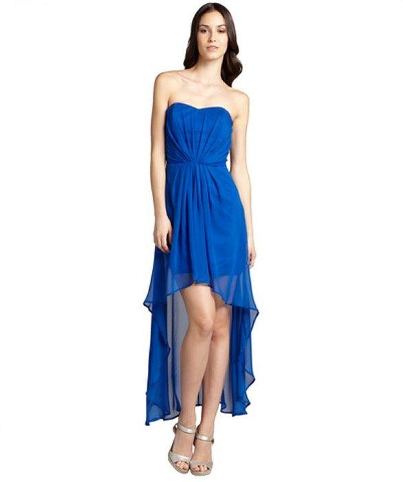 Wyatt Cobalt Blue Silk Chiffon Strapless Sweetheart High Low Dress ...