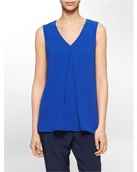 Blue Chiffon Sleeveless Top