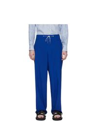 Fumito Ganryu Blue Silk Broadcloth Trousers