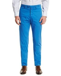 Kiton Flat Front Chino Pants Blue
