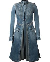Alexander McQueen Stitched Flared Denim Coat
