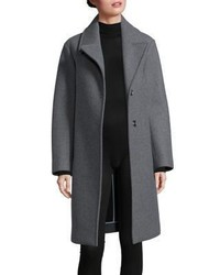 DKNY Snap Button Front Wool Blend Overcoat