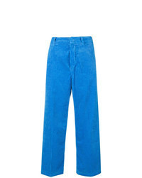 Blue Corduroy Wide Leg Pants