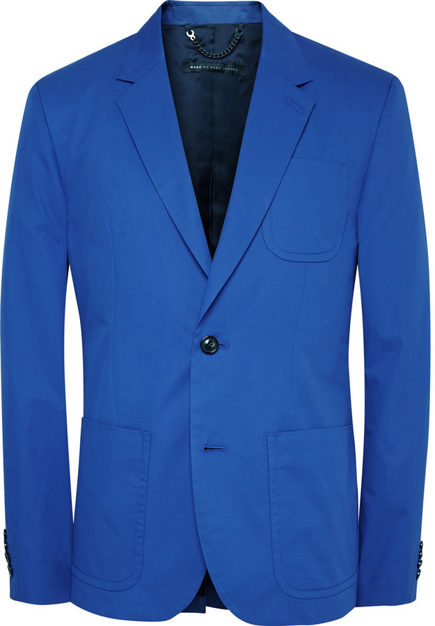 marc by marc jacobs blue slim fit cotton twill suit jacket where