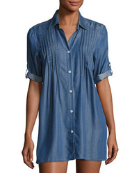 Tommy Bahama Cotton Chambray Pintuck Tunic Coverup Blue