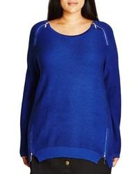 City Chic Plus Size Zip Detail Crewneck Sweater