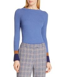 BOSS Fadeline Blue Fantasy Ribbed Wool Sweater