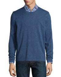 Superfine cashmere crewneck sweater blue medium 331878