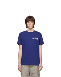 A.P.C. Blue Carhartt Wip Edition Fire T Shirt