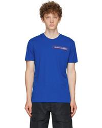 Alexander McQueen Blue Selvedge Logo Tape T Shirt