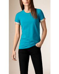 Check cuff stretch cotton t shirt medium 267274