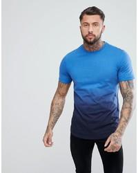 YOURTURN Dip Dye T Shirt In Blue