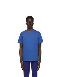 SSENSE WORKS Jeremy O Harris Blue Cursive Text T Shirt