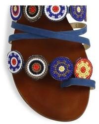 Schutz Ygritte Suede Blend Crochet Slide Sandals