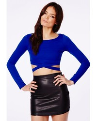 1566bf46d7b1bf ... Missguided Chara Bandage Waist Crop Top In Cobalt Blue ...