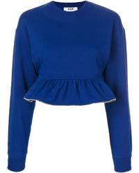 MSGM Zip Trim Cropped Peplum Jumper