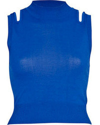 River Island Blue Cut Out Shoulder Knitted Crop Top