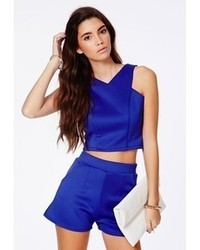 Missguided Krystyna Blue Scuba Crop Top With V Neck