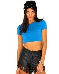 Missguided Kadisha Round Neck Crop Top In Blue