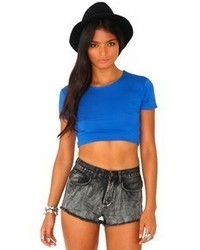 Missguided Kadisha Round Neck Crop Top In Cobalt Blue